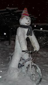 Cycling snowman!